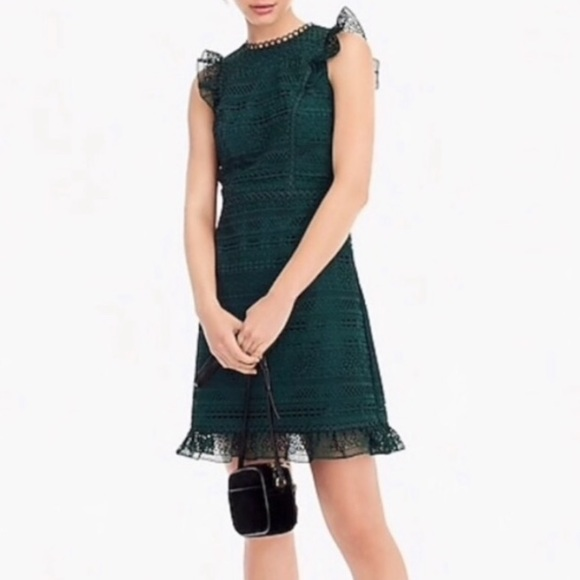 J. Crew Dresses & Skirts - J. Crew Cap Sleeve Ruffle Dark Green Lace Dress